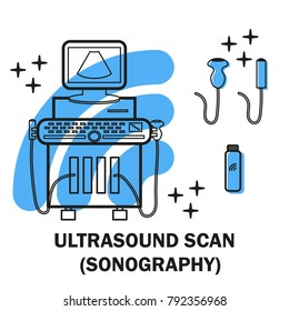 Ultrasound machine isolated on white with line and convex transducers. Medical diagnostic device with ultrasound probes. Sonography. Vector illustration made in modern line style Ultrasound equipment.