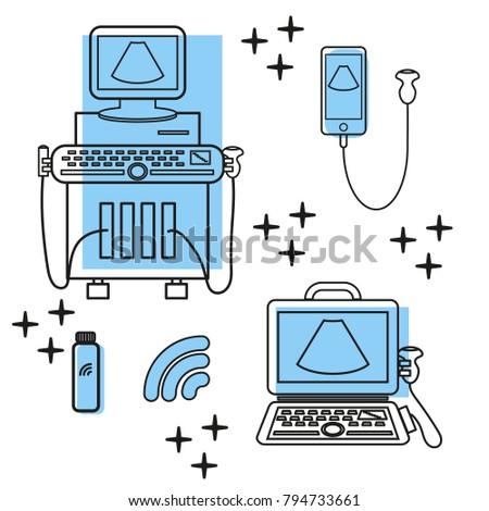 Ultrasound Machine Portable Ultrasound Machines Convex Stock Vector