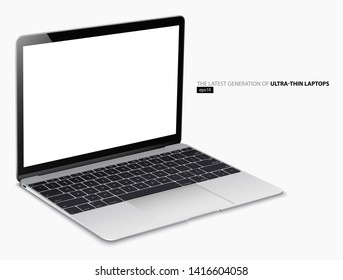 Ultra-thin Silver color laptop with detailed elements. eps10