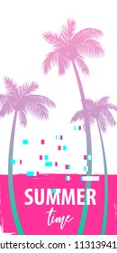 Ultraviolet summer time palm tree banner poster. Tropical monochrome colored advertise. Travel sale invitation. Vertical vector illustration background. Glitch effect. Simple silhouette.