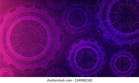 Ultraviolet Technology Gears wheel and Cock with Circuit Line Background,vector illustration.