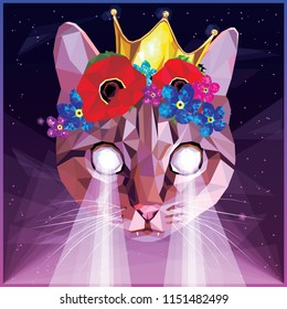 Ultraviolet vaporwave synthwave cat with a floral poppies, forget me nots and golden crown, colorful 80s - 90s low poly design. Animal portrait creative postmodernism card artwork in night landscape.