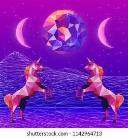 Ultraviolet vaporwave synthwave style illustration 80s - 90s colorful low poly design. Vector card illustration. Creative postmodernism artwork with unicorns in night landscape.