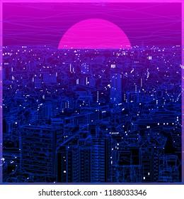 Ultraviolet vaporwave synthwave style illustration 80s - 90s colorful low poly design. Vector cityscape card background illustration. Creative postmodernism artwork with lights in night landscape.