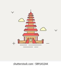 ulun danau temple, bali, indonesia filled vector illustration