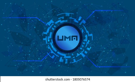 UMA token symbol of the DeFi project in a digital circle with a cryptocurrency theme on a blue background. Cryptocurrency icon. Decentralized finance programs. Copy space. Vector EPS10.