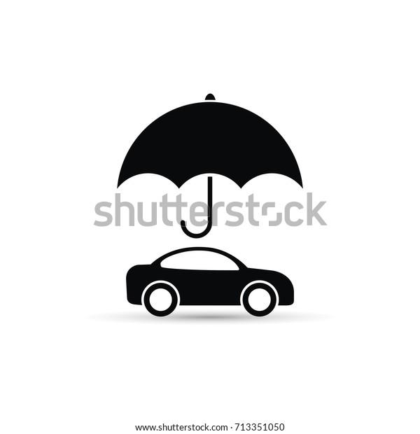 Umbrella Above Car Icon Vector Car Stock Vector Royalty Free 713351050