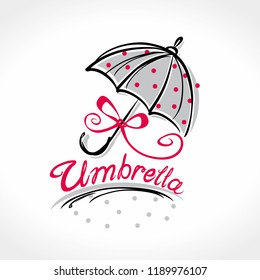 Umbrella. Beautiful female umbrella in red polka dots with a bow of red ribbon. Romantic umbrella vector template.