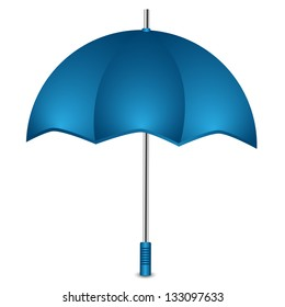 umbrella of blue color on a white background