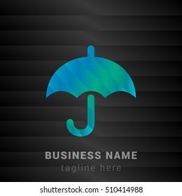 Umbrella Blue,Green and Black silk fashion premium icon / Logo