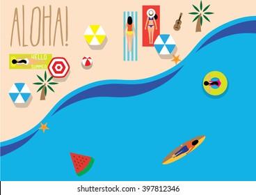 umbrella by the beach/ Vector illustration/ Summer time/ Sunbathe/ Summer holiday/ ladies trip/ aloha: hello or goodbye