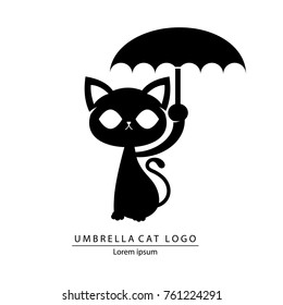 The Umbrella Cat Logo cartoon vector