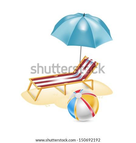 Umbrella Chair Beach Ball Isolated Stock Vector Royalty Free