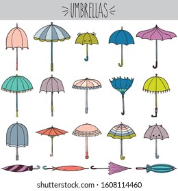 Umbrella Colored Illustration, beach parasol, cat, frog kids rain umbrella, ruffle summer, autumn season, meteorology, rainy day, broken, open, closed, stripped, spring shower, freehand, Pastel color
