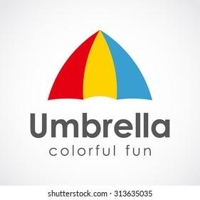 Umbrella colorful fun curve abstract vector logo design template business protect icon help care social company symbol concept