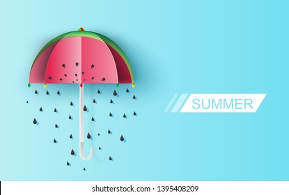 Umbrella Cute of watermelon rain seeds on blue background. Creative paper cut and craft about Lovely day.Festive greeting for poster Valentine's Day for.Holiday summer card concept vector illustration