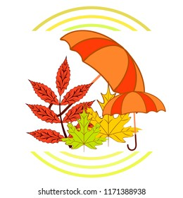 umbrella falling leaves autumnal vector background