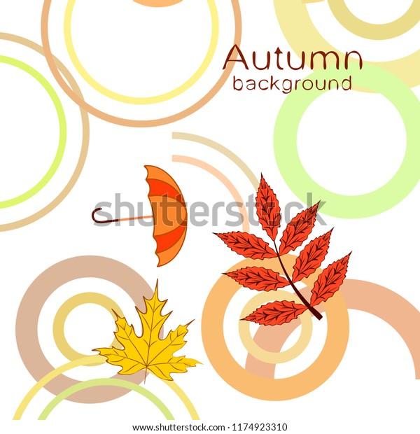 umbrella falling leaves autumnal vector background