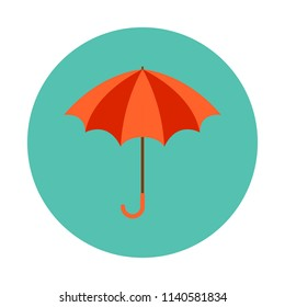 Umbrella flat icon isolated on blue background. Simple Umbrella sign symbol in flat style. Autumn element Vector illustration for web and mobile design.