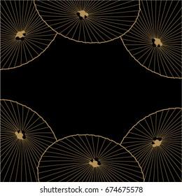 Umbrella gold line illustration in Japanese style vector on black background.
