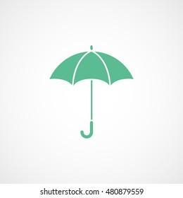 Umbrella Green Flat Icon On White Background