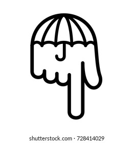 Umbrella hand pointer down logo icon. Outline illustration of umbrella hand pointer down vector illustration for print or web design.