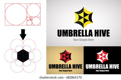 Umbrella Hive Logo design for Creative Business. Design and Made with Golden Ratio Principles. Logo Vector Template.