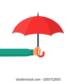 Umbrella holding in hand. Vector illustration flat design. Protection icon. Security concept. Isolated on white background.