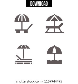 umbrella icon. 4 umbrella vector set. sunbed and sun umbrella icons for web and design about umbrella theme