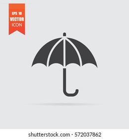 Umbrella icon in flat style isolated on grey background. For your design, logo. Vector illustration.
