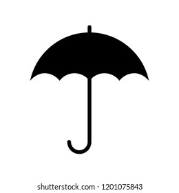 Umbrella icon. Graphic sign umbrella. Black symbol umbrella isolated on white background. Umbrella silhouette. Stock vector illustration