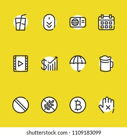 Umbrella icon with soda, gluten free and forbidden symbols. Set of forbidden, date, ban icons and profit concept. Editable vector elements for logo app UI design.