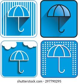 Umbrella icon vector different options. Rain logo.