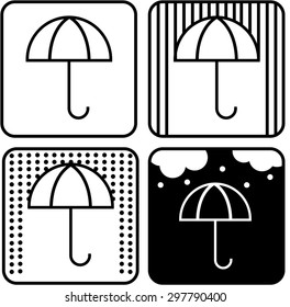 Umbrella icon vector different options