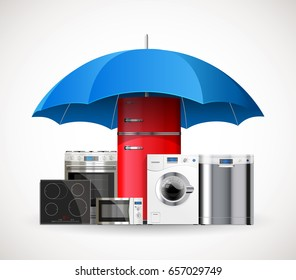 Umbrella insurance concept - warranty of household appliances - fridge, wash machine, gas stove, oven, microwave