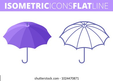 The umbrella. Isometric flat and outline icon set. The security and protection concept line pictogram collection. Vector linear infographic elements. The rain protection 3d and outlined symbols.