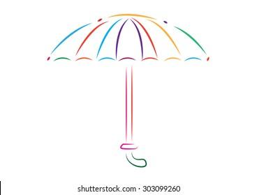 Umbrella Line Art. Editable Clip Art.