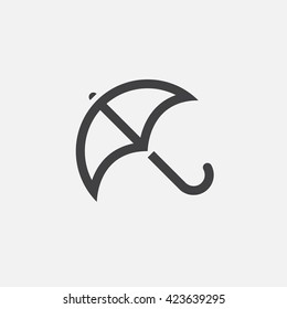 umbrella line icon, outline vector logo illustration, linear pictogram isolated on white