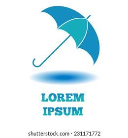 Umbrella logo, business card emblem mockup. Open parasol object with shadow.