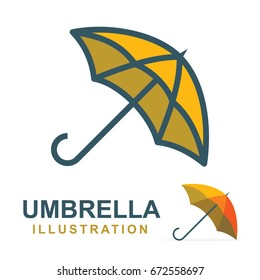 Umbrella logo, illustration and icons set. Flat design.
