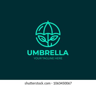 Umbrella logo template. Line parasol and leaves vector design. Opened umbrella logotype