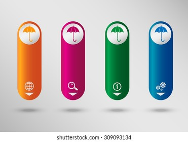 Umbrella on vertical infographic design template, can be used for workflow layout, web design