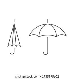Umbrella outline linear empty open close icon sign vector illustration.