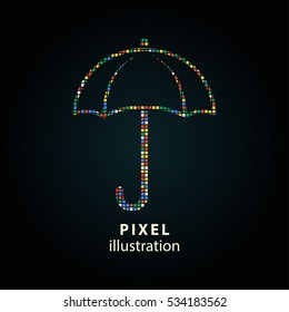 Umbrella - pixel icon. Vector Illustration. Design logo element. Isolated on black background. It is easy to change to any color.