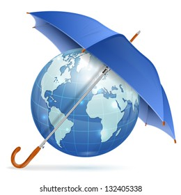 Umbrella Protect Earth, vector icon isolated on white background