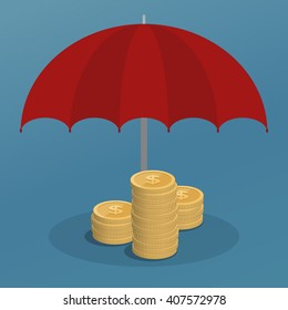 Umbrella protecting Money - Flat Design Coin Stacks Blue Background and shadow