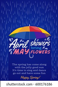 Umbrella protection from rain. Concept. April showers bring may flowers. Lettering. Cartoon style. Vector Illustration.