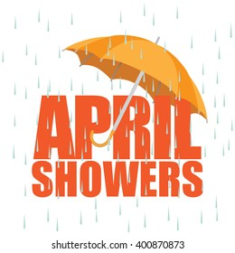 Umbrella in the rain. April showers. EPS 10 vector.