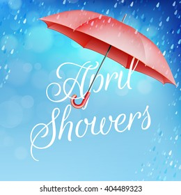 Umbrella in the rain. April showers. EPS 10 vector file included