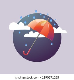Umbrella and rain and clouds abstract vector illustration
